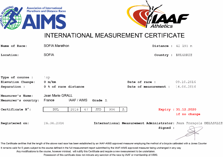 Certificat Sofia Marathon