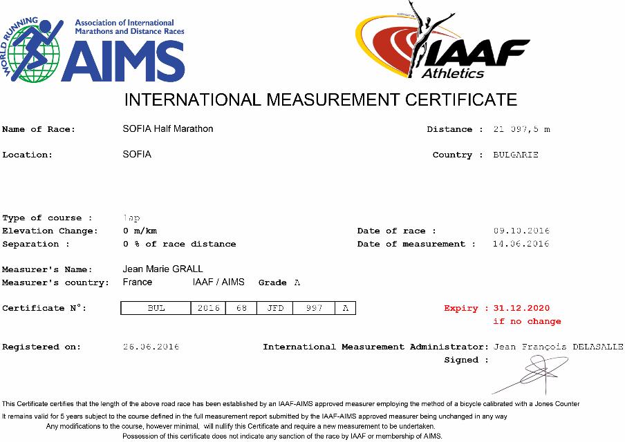Certificat Sofia Half Marathon